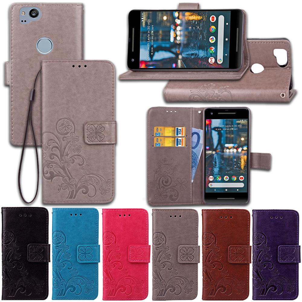 best sneakers 0659a 40cc6 PU Leather Cases Cover Stand for Google Pixel 2 Lucky Four Leaf Clover with  Wallet Card Holder Hand Strap