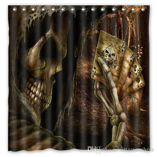 2018 Skull Creepy Cards Design Shower Curtain Size 180 X Cm Custom Waterproof Polyester Fabric Bath Curtains From Littemanthree 3016