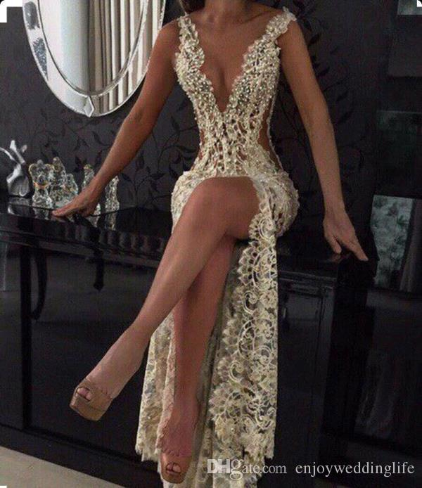 2018 Champagne Sexy Plunging V Neck Tight -High Split Evening Dresses Full Lace Side Cutaway Backless Prom Dresses With Beading BA2786