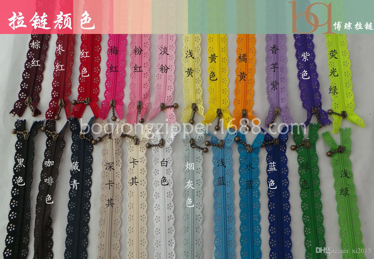 500 Adet / grup Moda 20 cm veya 25 cm zippers dantel naylon bitirmek için fermuar dikiş gelinlik vb 24 renk hızlı kargo