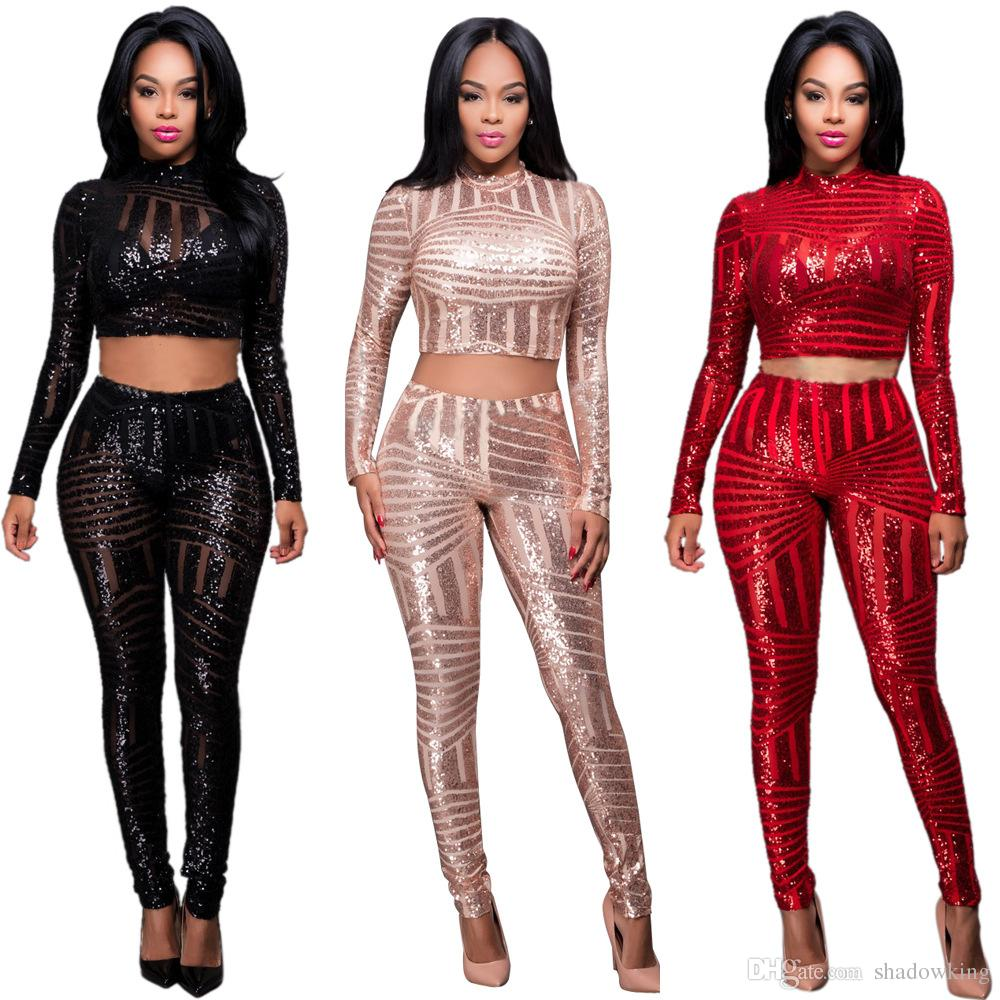 2017 Crop Top And Long Pants Rompers Women Sequin Jumpsuit Bodysuit Long  Sleeve Two Pieces Outfits Overalls Bodycon Club Jumpsuits Smr1018 From  Shadowking, ... - 2017 Crop Top And Long Pants Rompers Women Sequin Jumpsuit