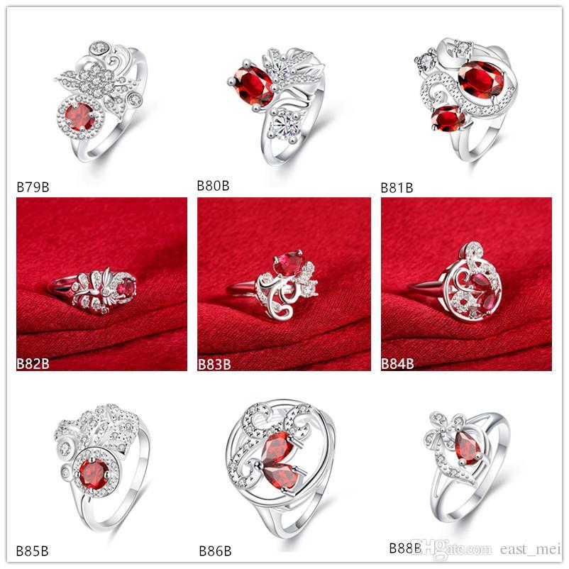Modelos de explosão de estilo misto moda pedra preciosa vermelha 925 placa de prata anel EMGR6, Serpentina libélula banhado a prata esterlina anel de 10 peças muito