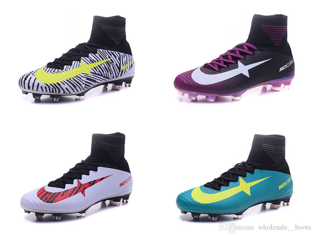 6a3a51c6793 2019 2017 Football Shoes For Free Mercurial Superfly V FG High Top Soccer  Cleats 38 46 CR7 Series Soccer Shoes Boots Mens Outdoor De Futbol From ...