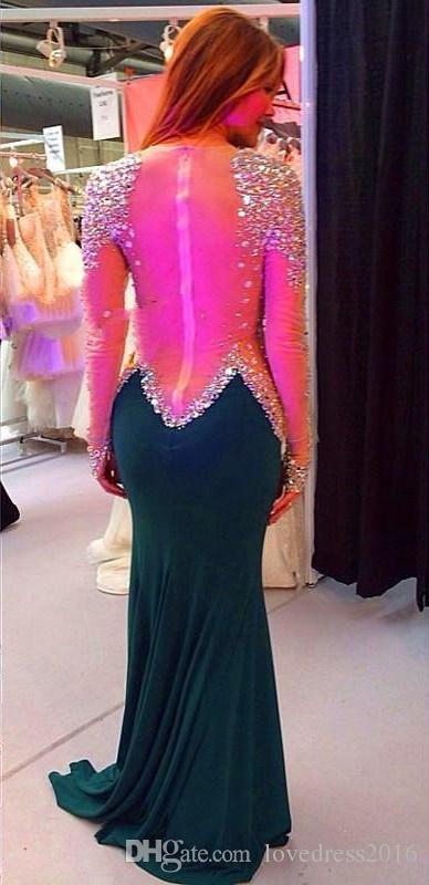 Perfect Handmade Rhinestone Beaded Luxury Formal Mermiad Dresses Evening Wear Long Sleeves See Through Zipper Back Prom Dresses