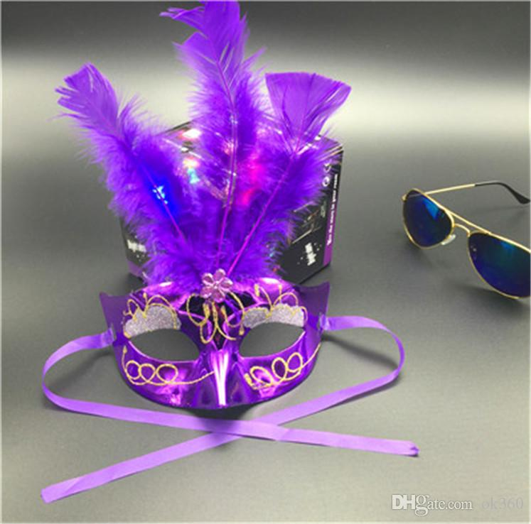 LED Party Hallowmas Mask Face Mask Novelty RGB Flash Mask Gold Powder Princess Feather Mask PVC Masquerade Venetian Masks New Holiday Mask