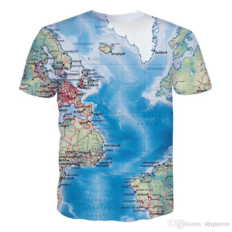 Новая карта моря 3D футболка мужчины 2016 мужская мода океан печатных с коротким рукавом футболка Марка Slim Fit эластичный футболка Футболка футболка