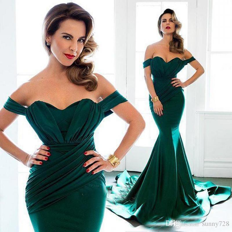 Hot Green Mermaid Evening Dress 2016 New Sweetheart Pleats Cap Sleeve Sexy Backless Formal Prom Dress Sweep Train Formal Party Dress