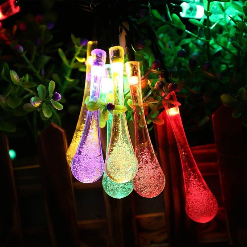 super popular 50f84 1c313 Wholesale-4.8M 20LEDs Colorful Raindrop Solar Lamp Waterproof Christmas  Holiday Ourdoor Garden Decoration Fairy Solar Battery String Light