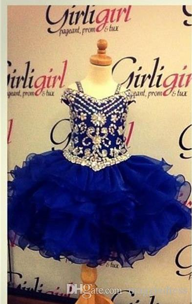 Lovely Royal Blue Crystals Girls Pageant Dresses 2016 Little Girls Ball Gowns Mini Ruffles Organza Cheap Princess Cupcake Ritzee Girl Dress