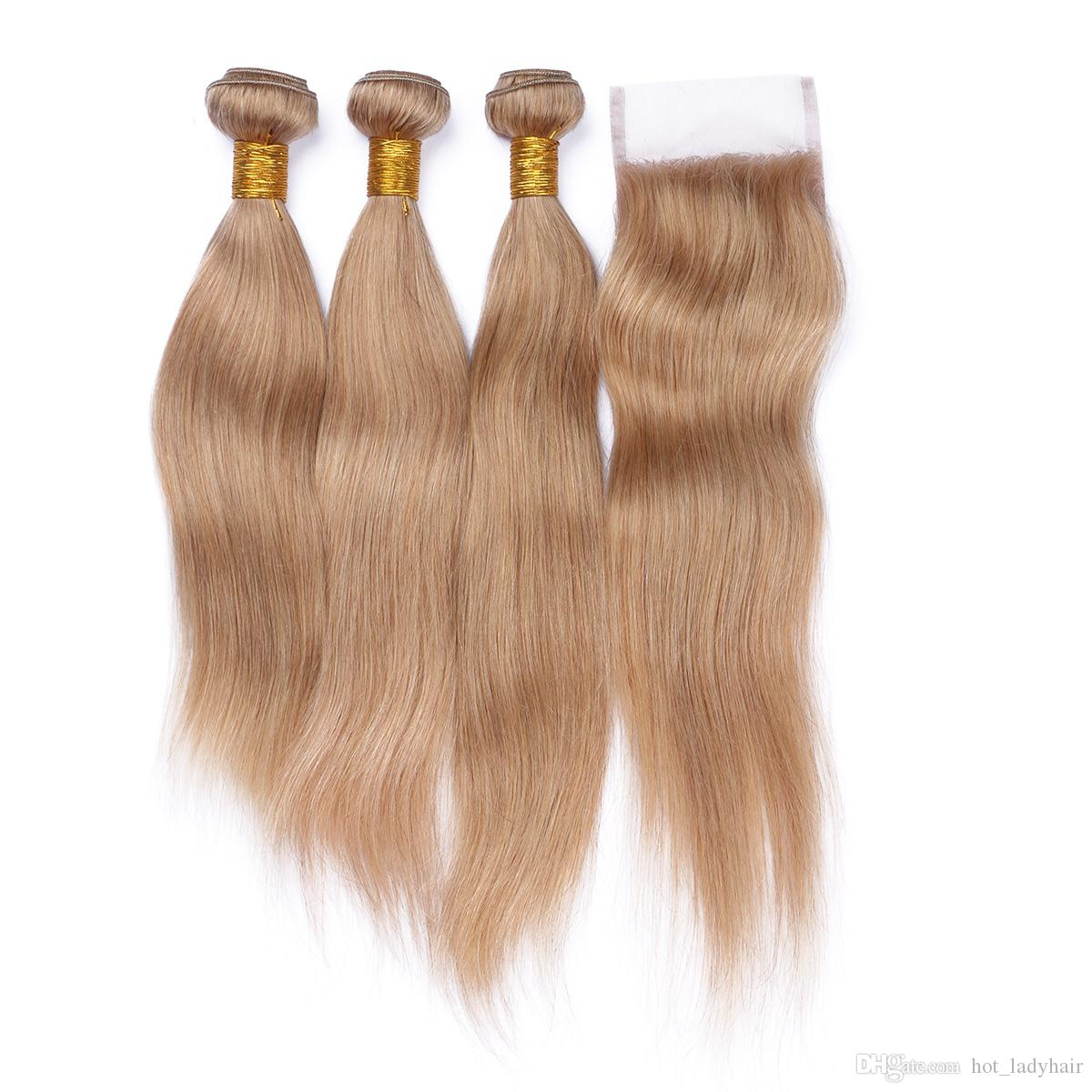 #27 Blonde Malaysian Hair 3Bundles With Top Closure 4Pcs Lot Honey Blonde Straight Human Hair With 4*4 Lace Closure 4Pcs Lot