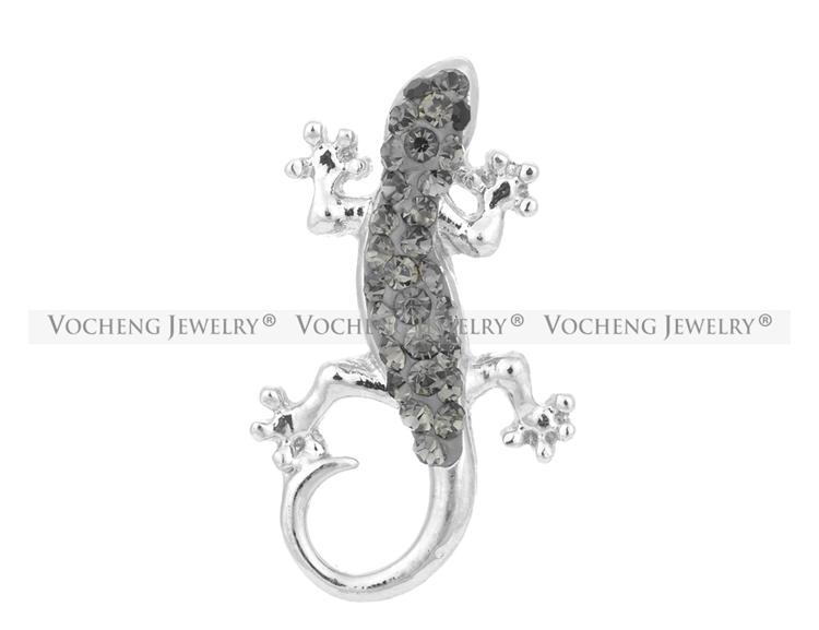 VOCHENG NOOSA Gris Cristal 18mm Gecko Interchangeable Gingembre Snap Jewelry Vn-1063