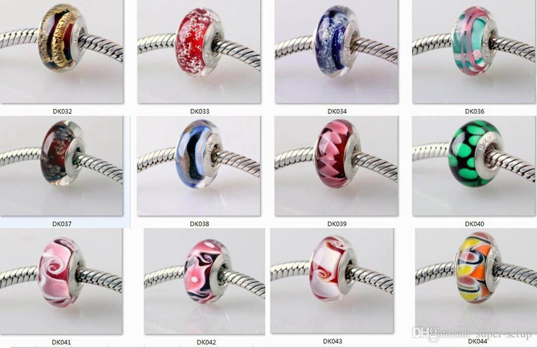 boutique versilbert 925 logo Murano farbige glasur großes loch Glasperlen gewinde schraube Fit DIY Armband Halskette charms Schmuck