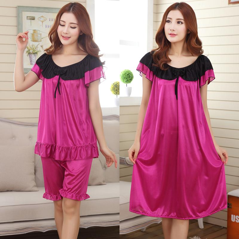 2019 Wholesale 2015 Women Summer Plus Size Ice Silk Nightgown Female Large  Size Short Sleeve Sleepwear Set And Homewear Dress From Caesarl 5927f0d85001