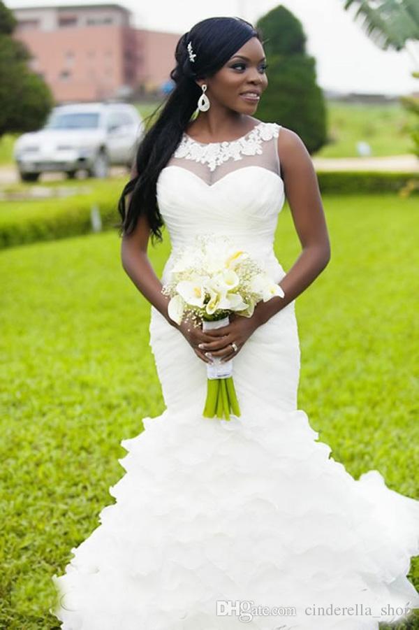 New Vintage Mermaid African Wedding Dresses 2019 Sheer Neck Appliques Ruffles Sweep Train Organza Elegant Arabic Plus Size Bridal Gowns