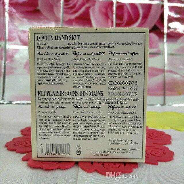 Vendita calda in magazzino 1box = famoso marchio di marca burro + peonia + rosa panoramica crema con 6 pezzi pack vestito mini lozioni a mano shopping libero
