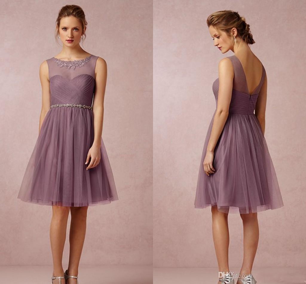 2016 Short Purple Cocktail Dresses Scoop Lace Appliques Sash Beads ...
