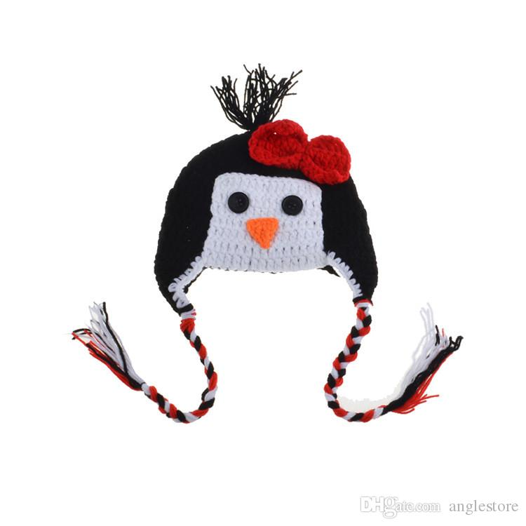fashion Newborn baby photo props handmade Pants Knit and Penguin Cap for Photography Props baby studio props accessories