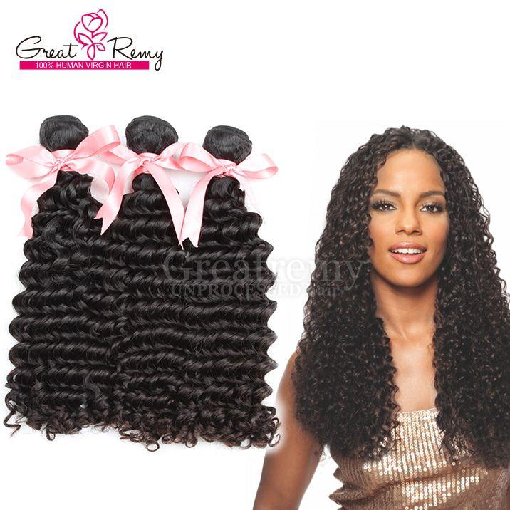 Greatremy® 100% brasiliansk obearbetad mänsklig hårväftväv 8-30 Naturfärg Virgin Hair Extension Deep Wave / Fast Shipping