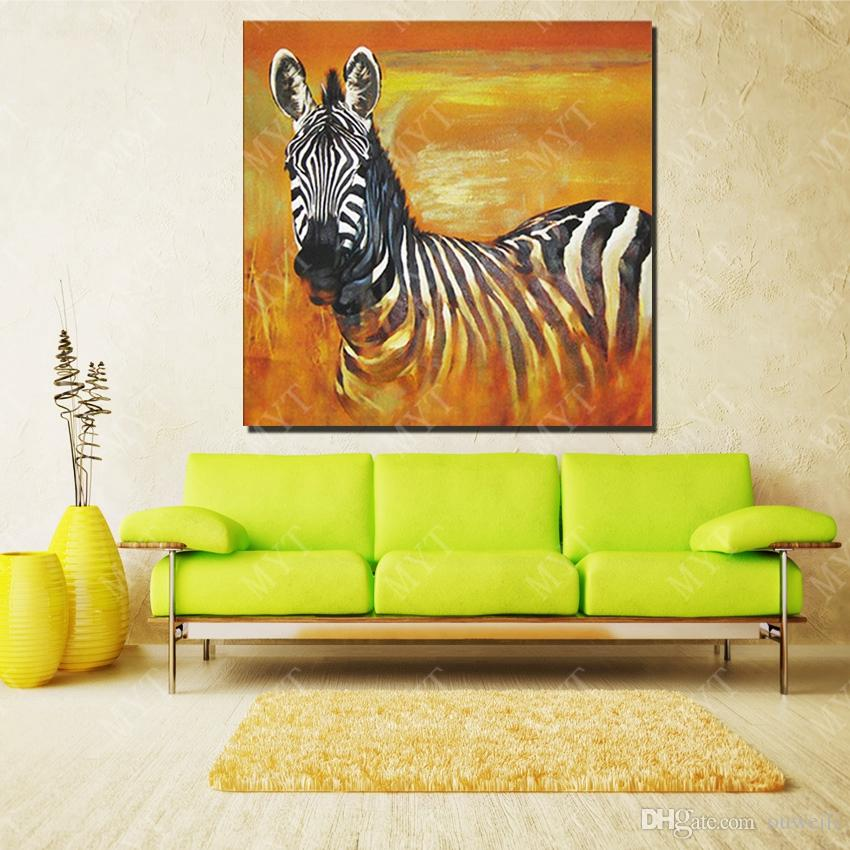 2016 new design best birthday gift for friends hand made handicrafts home wall decor canvas animal zebra oil painting