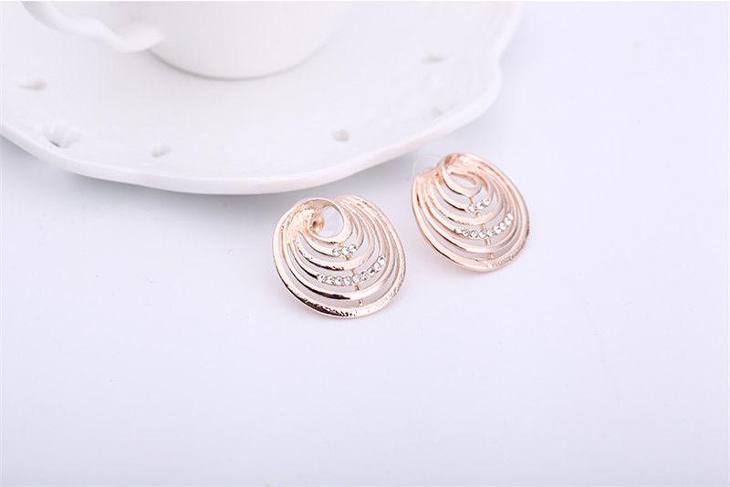 Necklace Earrings Jewelry Set Fashion High Grade Women Rhinestone 18K Gold Plated Alloy Geometric Circles Wedding Jewelry 2-Piece Set JS269