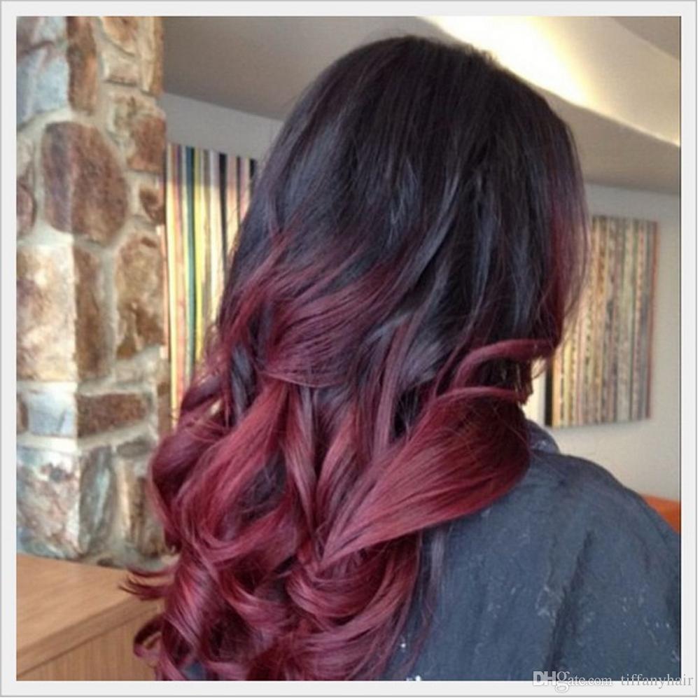 Parrucca piena del merletto di 150dens Brasiliano Remy Hair 1BT99j Wave Ombre Colore Parte libera Parrucca Anteriore Del Merletto Dei Capelli Umani Pre Pizzicato Linea Sottile Naturale Qtfn