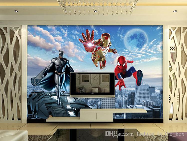 Personalizado Foto 3D papel tapiz Batman Iron Man Wallpaper Spider-Man Murales de pared Dormitorio de los niños Sala de estar TV telón de fondo pared Decoración de la habitación Super héroe