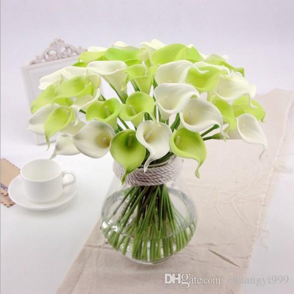 Envío Gratis 36 Unids pequeño Real Touch Pu Calla lirio para la Boda Nupcial Ramo Flores Decoración Al Por Mayor