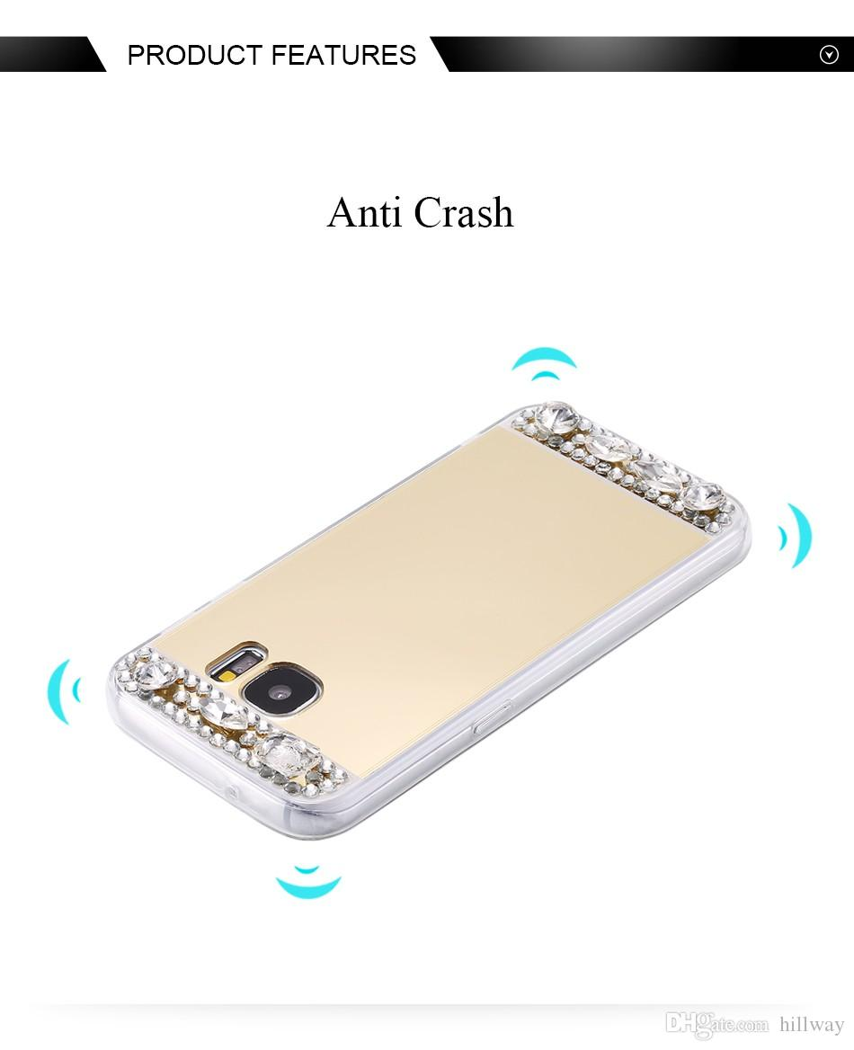 Diamond Case for iPhone X 5 6 7 8 Plus Gold Rhinestone Bling Mirror Cover for Samsung J7 J3 J5 A3 A5 A7 S6 S7 Edge S8 Plus Note 3 4 5 8