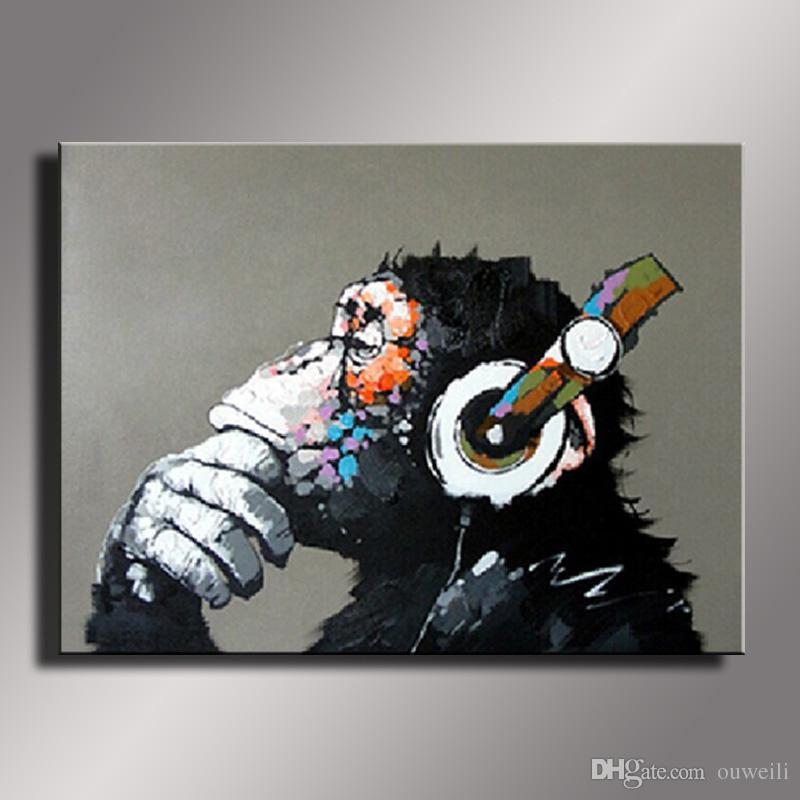 2016 New Oil Painting hand painted Oil Painting on Canvas Abstract Monkey Wall Art for Home Decoration Picture No Framed Oil Paintings