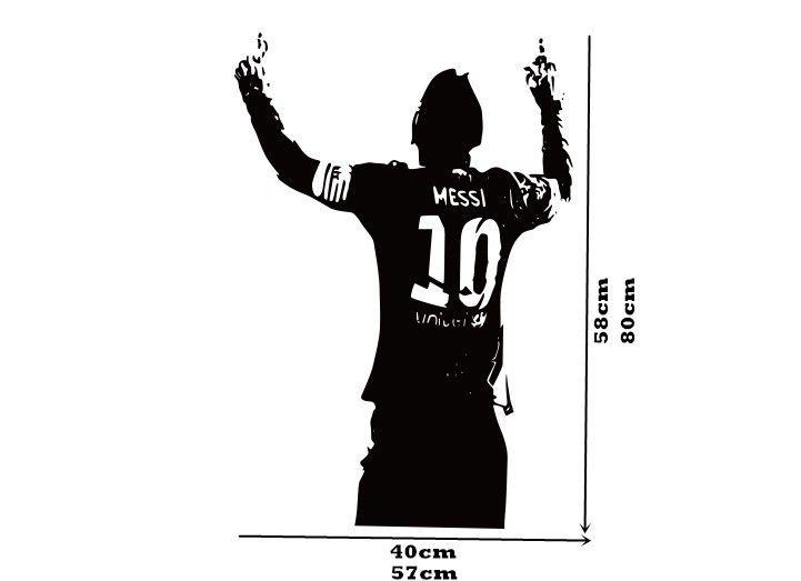 2015 бесплатная доставка спорт футболист наклейки на стену дети мальчики год лионель месси после озвучивания подбадривая декор стен