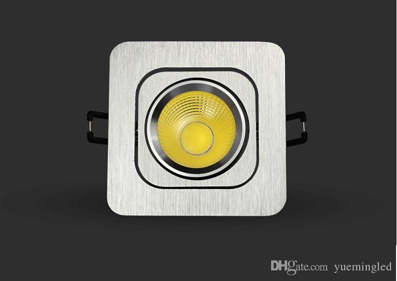 Alta qualità, ultimo aggiornamento, AC85 ~ 265V, 10W, faretti a soffitto quadrati COB, alluminio, luce LED Down, guscio oro / bianco / argento / nero