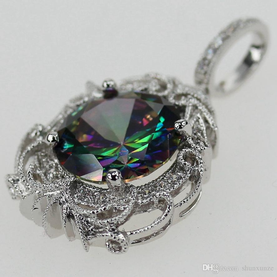 Sporty Pendants Rainbow Mystic and White Cubic Zirconia Silver Plated P3594 Rave reviews Explosion models Noble Generous Engagement Wedding