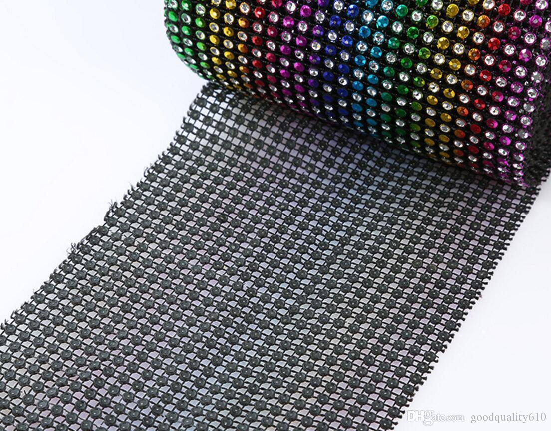 10yard 24row multicolor Bendable Diamond Malha Envoltório Rolo Sparkle Rhinestone Trim Fita Para O Casamento Presente Partido Decoração de Artesanato