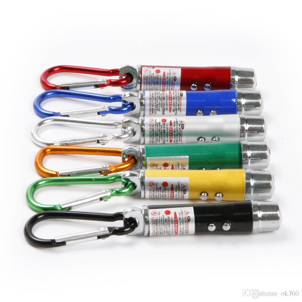 3 in1 LED Flashlight UV Torch Light Aluminum Alloy Torch with Carabiner Ring Keyrings mini Flashlight Red Laser Pointer