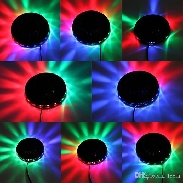 Dhl مجاني sunning ضوء rgb الإضاءة 48 المصابيح كامل اللون led كريستال المرحلة ضوء السيارات الدورية المرحلة تأثير dj مصباح مصغرة المرحلة ضوء لمبة