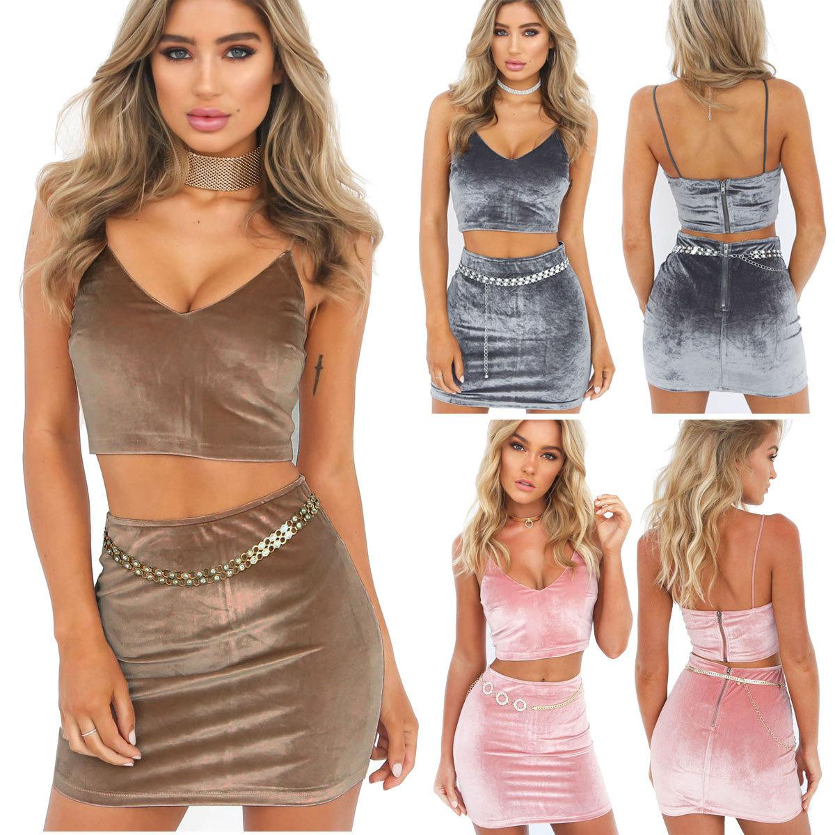 6dd90f7269 2019 2017 Women Halter Two Piece Skirts Set Lady Spaghetti Strap V Neck Crop  Top Short Mini Skirt Cocktail Clubbing Party Two Piece Skirt Set From ...