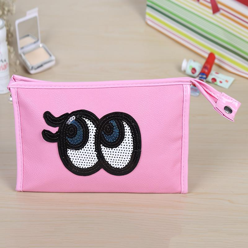 Cheap price 2016 big eyes candy women storage bags PU square cosmetic bag waterproof fashion travel stuff sacks