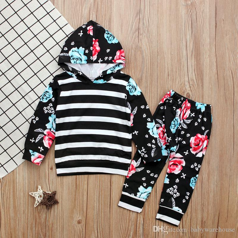 Newborn Toddler Baby Girls Clothes Striped Floral Black Long Sleeve Hoodie Tops + Pants Kids Outfits Set Children Clothing Girls Suit