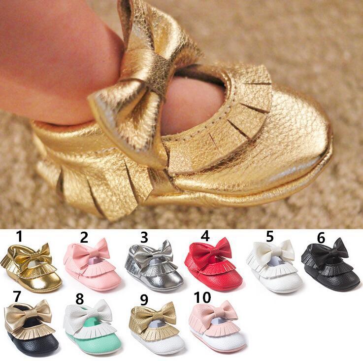 2016 Bebê Crianças Borboleta Nó Fundo Macio Borla criança Sapatos Meninas Sapatas de Bebê Primavera E No Outono Do Bebê / Primeiro Walker Sapatos Crianças roupas