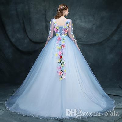Discount Ocw4 Of Bride Colorful Flower Fairy Gowns Custom Made Small ...