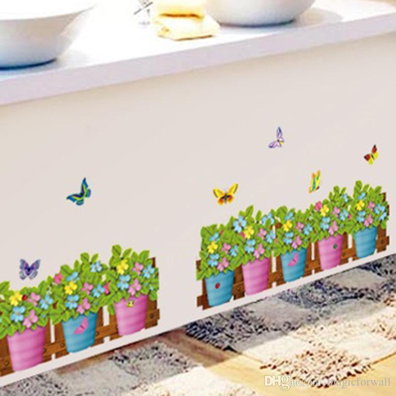 Beautiful Flowerpot Butterfly Wall Decals Nature Green Plant Bonsai Wall Art Mural Poster DIY Home Decor Wallpaper Art Wall Graphic Poster