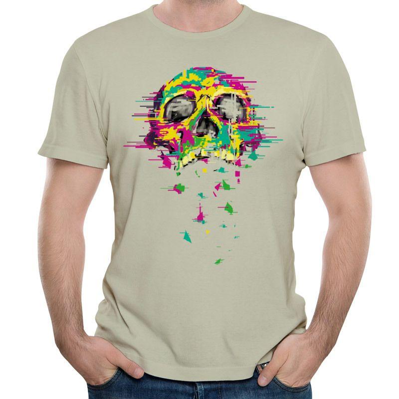 Design em negrito T-shirt masculina Crânio de Néon Impressão Em Tops Pretos de Manga Curta Tee Shirt Dos Homens O Pescoço T Camisas de Pano de Algodão Puro Ruído