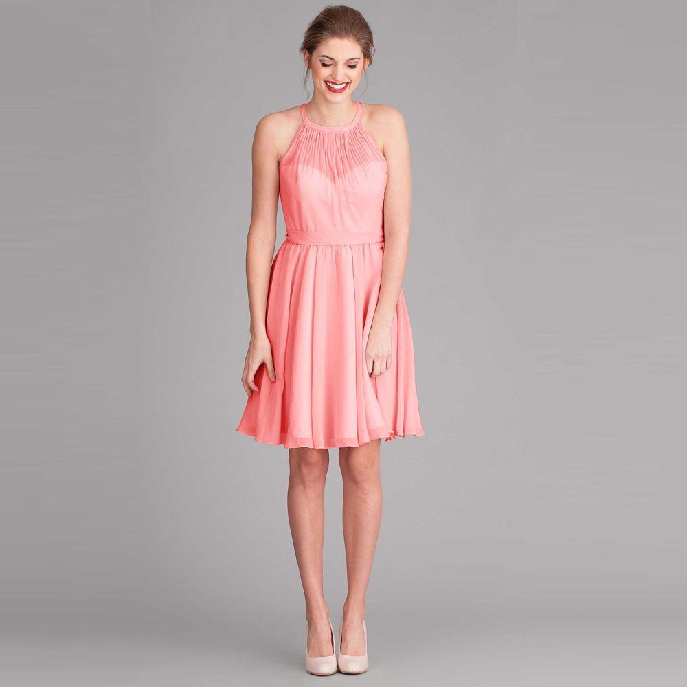 Compre Vestidos De Dama De Honor De Color Coral Vestido De Dama De ...
