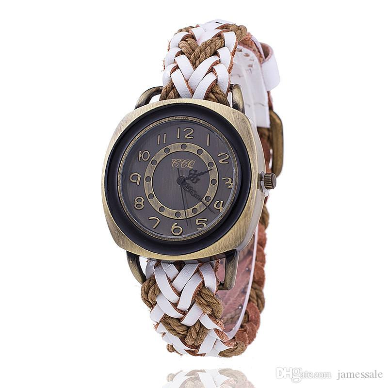 Restoring ancient ways supply woven strap watch Neutral fashion square table manufacturer wholesale fashion leather quartz watch