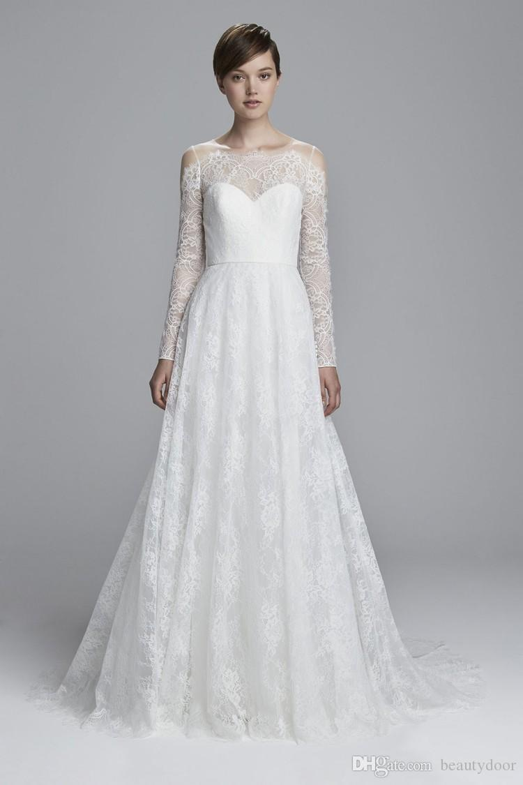 Discount Chantilly Lace Wedding Dress With Scallop Detailing On ...