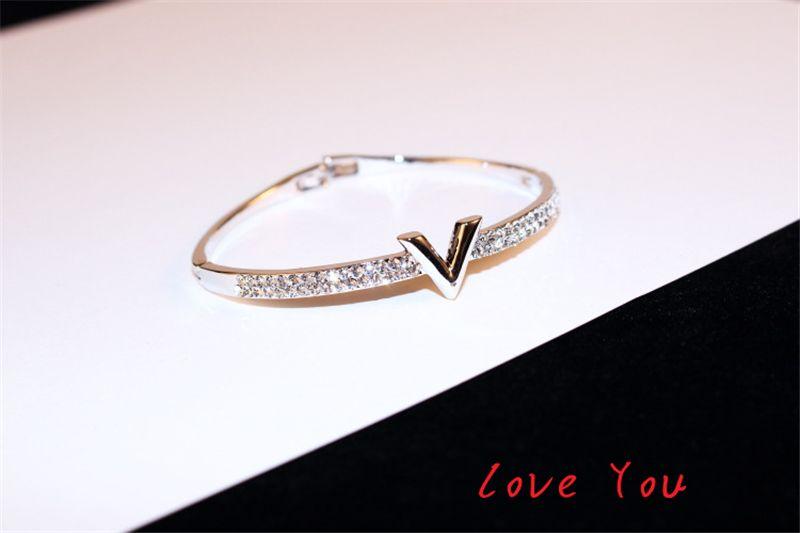 Pulsera brazalete Europea Marca letra V Hadas circón de lujo de los brazaletes de partido de las mujeres joyería fina accesorios del traje