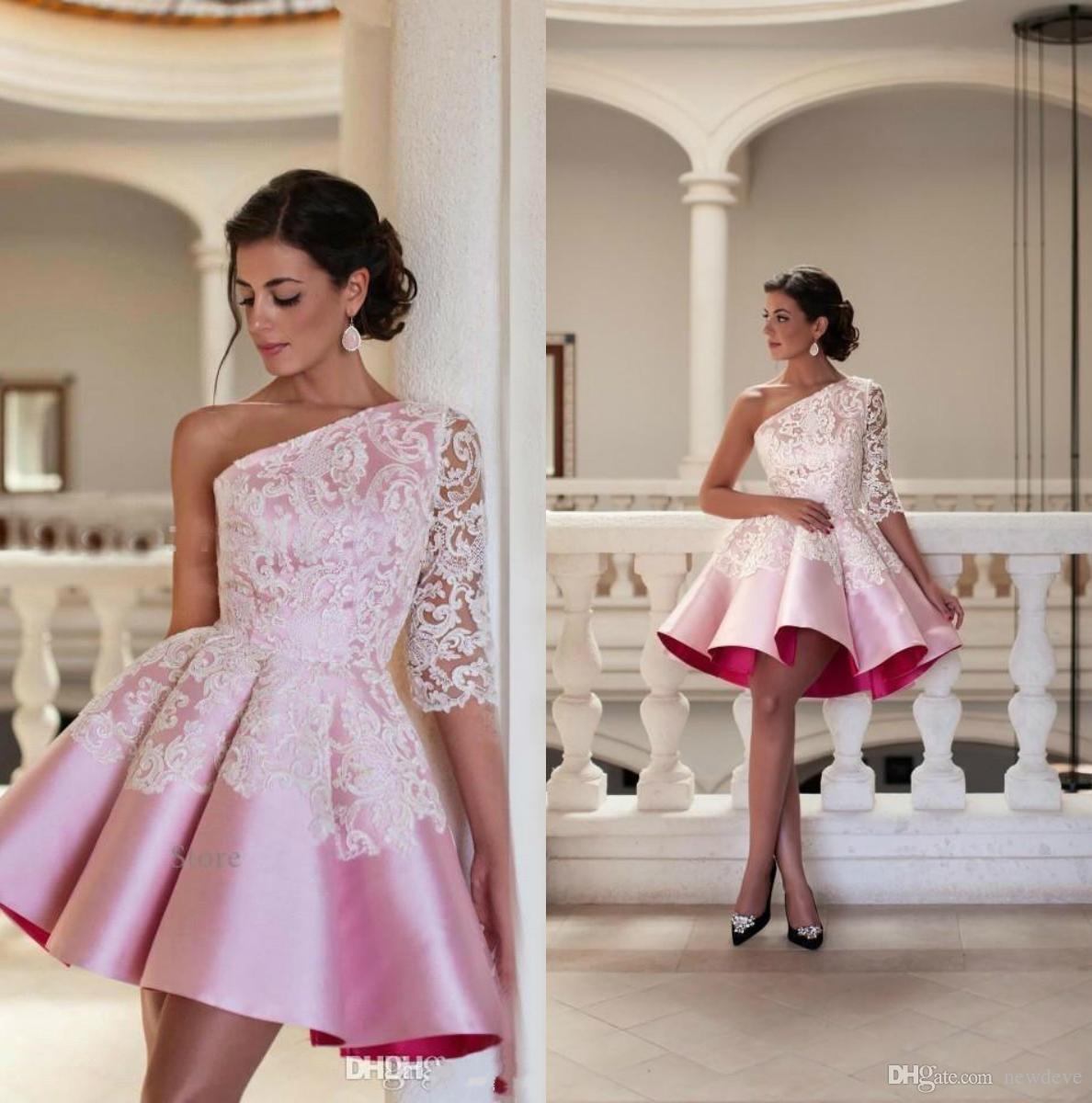 73804fe5df0 2017 Cheap Cocktail Dresses One Shoulder Newest Satin Lace Applique ...