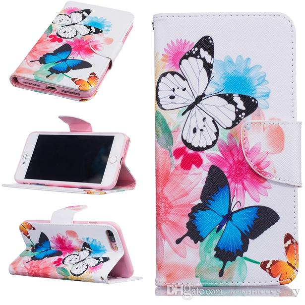For Iphone 7 Plus I7 Iphone7 Huawei Mate 8 Honor 5A Y3 Y5 II Flower Wallet Leather Pouch Case Stand Card Don't Touch My Phone Cartoon Cover