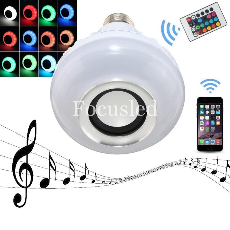 Vendeur chaud LED RGB Couleur Ampoules Lumières Lampes E27 Smart Haut-Parleur Sans Fil Bluetooth Télécommande Musique Audio Haut-Parleur Costume pour iphone