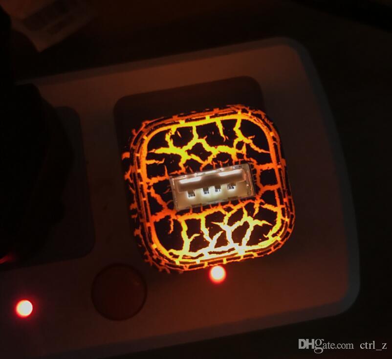 Lights Up US Caricabatteria 5V / 1A LED USB viaggio da casa Caricabatterie AC Caricabatteria da parete Cracked Stylish